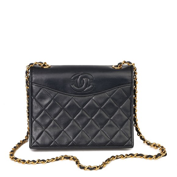 Chanel Navy Quilted Lambskin Vintage Timeless Single Flap Bag