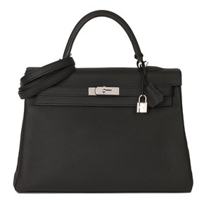 Hermès Black Togo Leather Kelly 35cm Retourne
