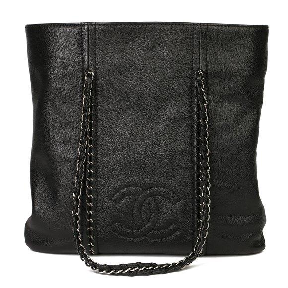 Chanel Black Metallic Dearskin Leather Luxe Ligne Tote