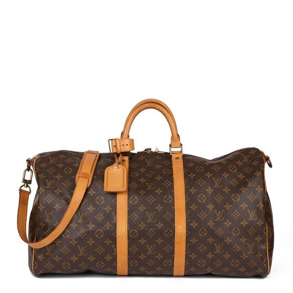 Louis Vuitton Brown Monogram Coated Canvas & Vachetta Leather Vintage Keepall 55 Bandoulière