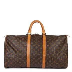Louis Vuitton Brown Monogram Coated Canvas & Vachetta Leather Vintage Keepall 55