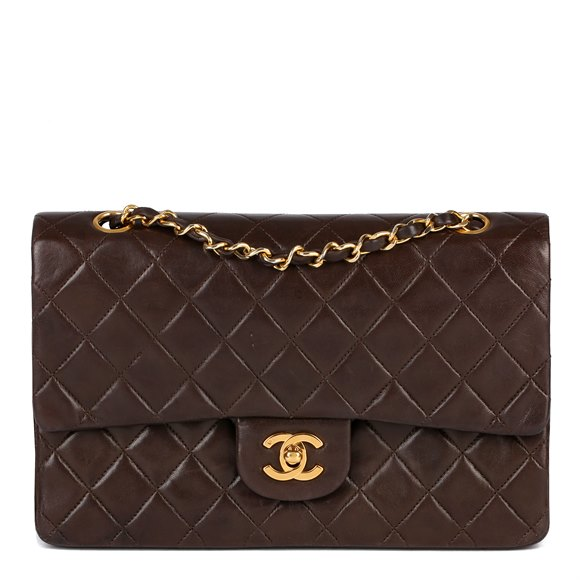 Chanel Brown Quilted Lambskin Vintage Medium Classic Double Flap Bag