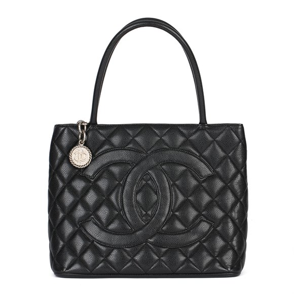 Chanel Black Quilted Caviar Leather Vintage Medallion Tote