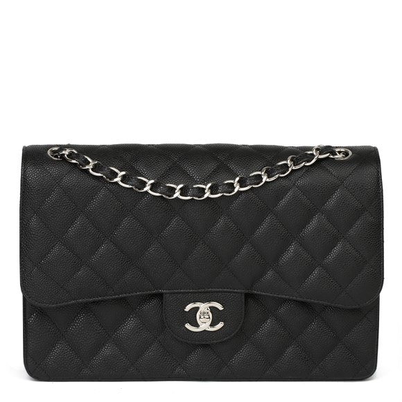 Chanel Black Quilted Caviar Leather Jumbo Classic Double Flap Bag