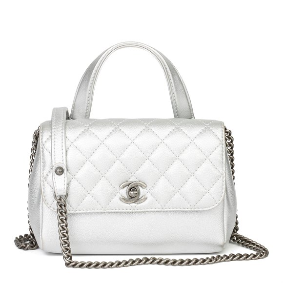 Chanel Silver Metallic Calfskin Leather Double Sided Flap Bag