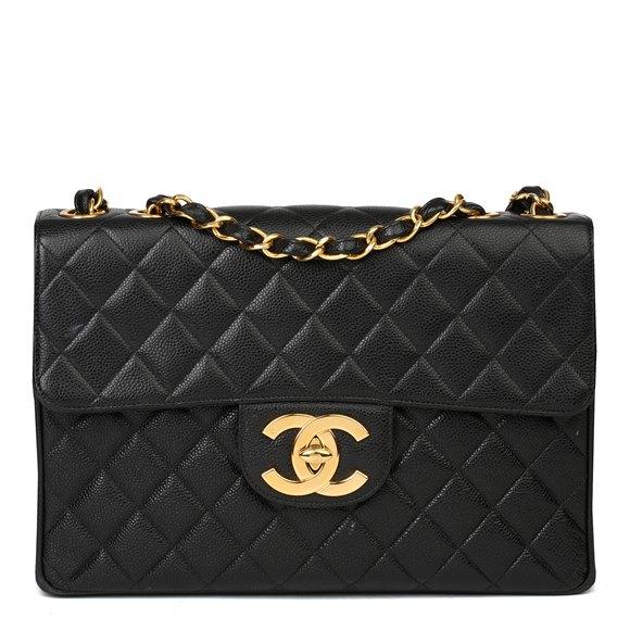 Chanel Black Caviar Leather Vintage Jumbo Single Classic Flap Bag