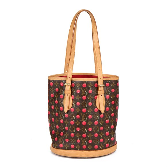 Louis Vuitton Cherries Brown Monogram Coated Canvas & Vachetta Leather Murakami Bucket Bag