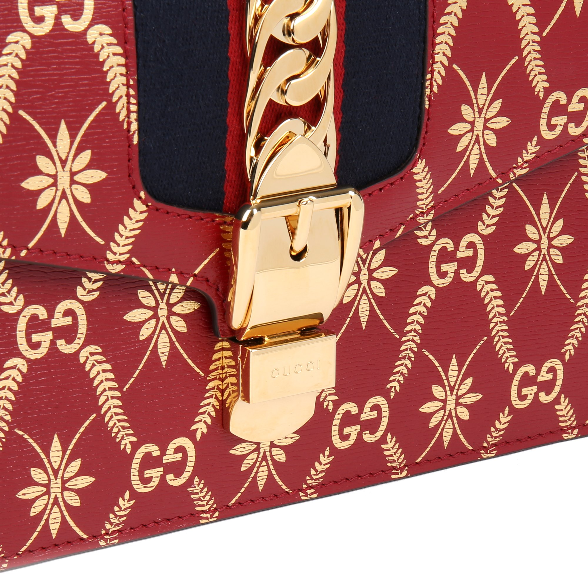 Gucci Red & Gold Calfskin Leather Top Handle Small Sylvie