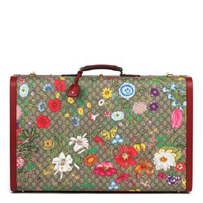 Gucci GG Flora Coated Canvas & Red Pigskin Leather Maxi Suitcase Trunk