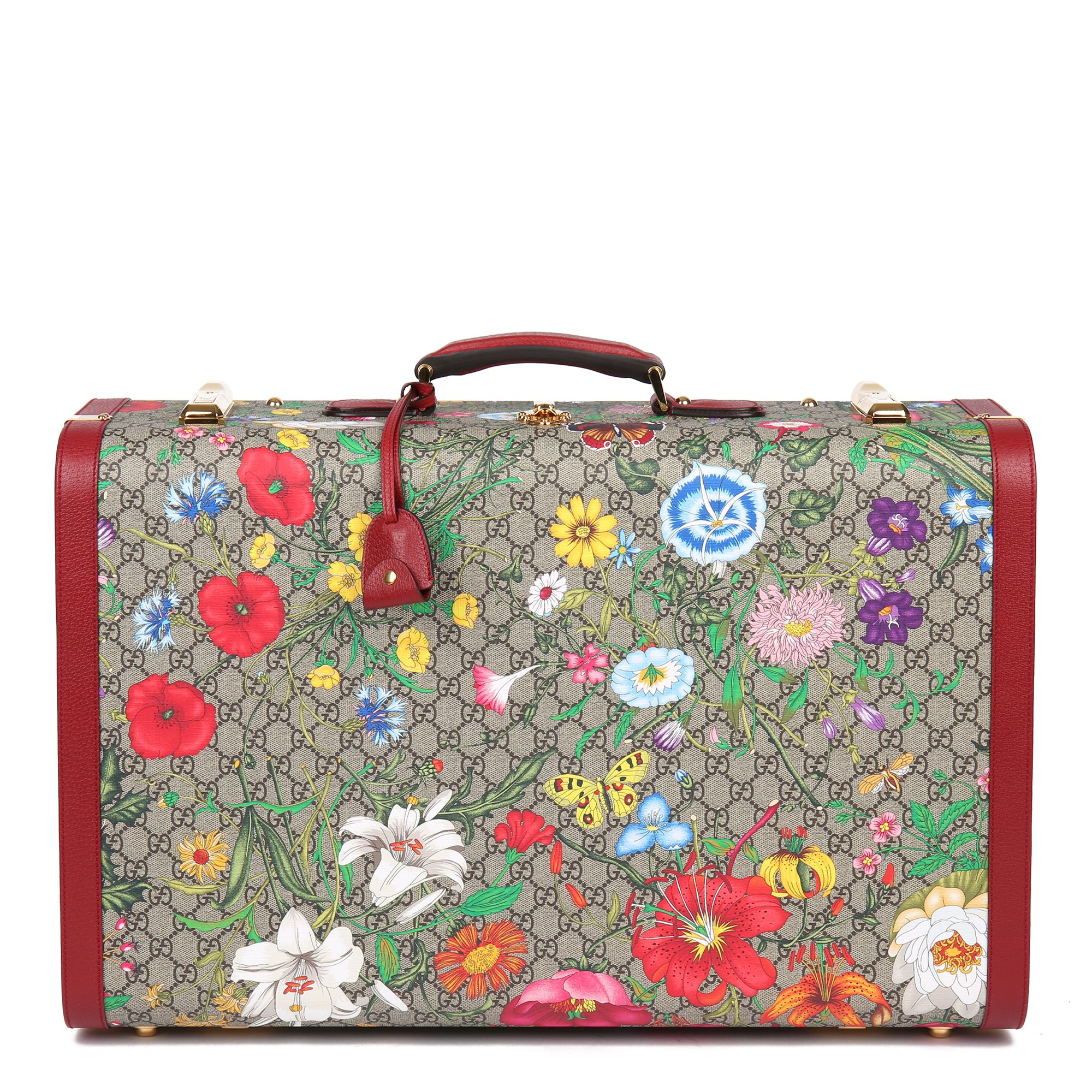 Gucci GG Flora Coated Canvas & Red Pigskin Leather Large Suitcase Trunk