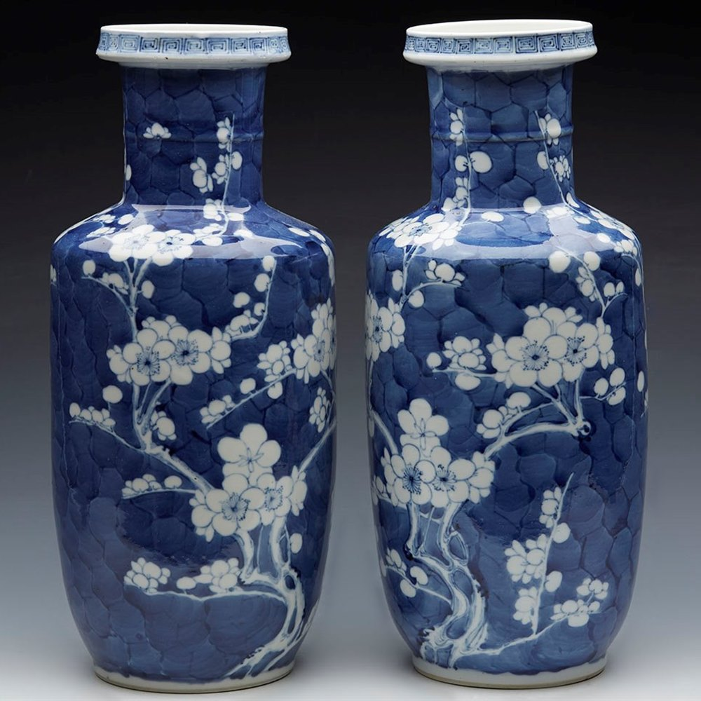 CHINESE ROULEAU PRUNUS VASES Kangxi mark 1662 – 1722 and possibly of period or later