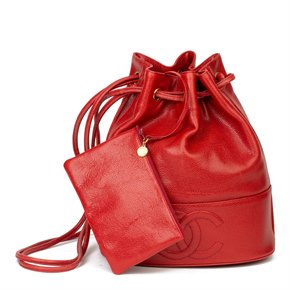 Chanel Red Caviar Leather Timeless Bucket Bag with Pouch