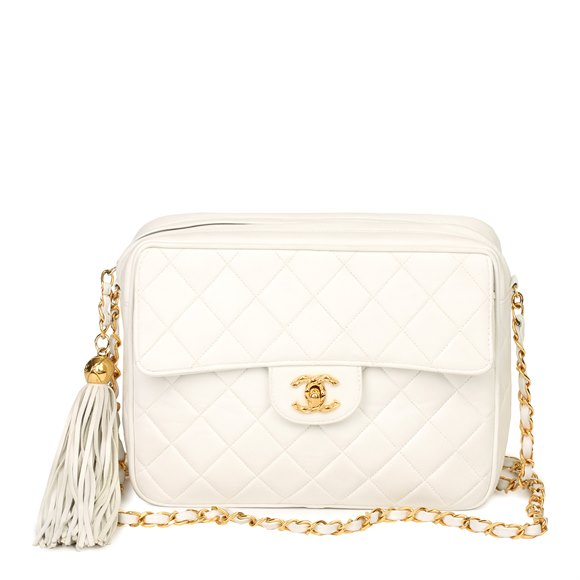 Chanel White Quilted Lambskin Vintage Classic Camera Bag