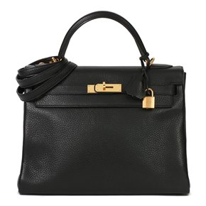 Hermès Black Clemence Leather Kelly 32cm Retourne