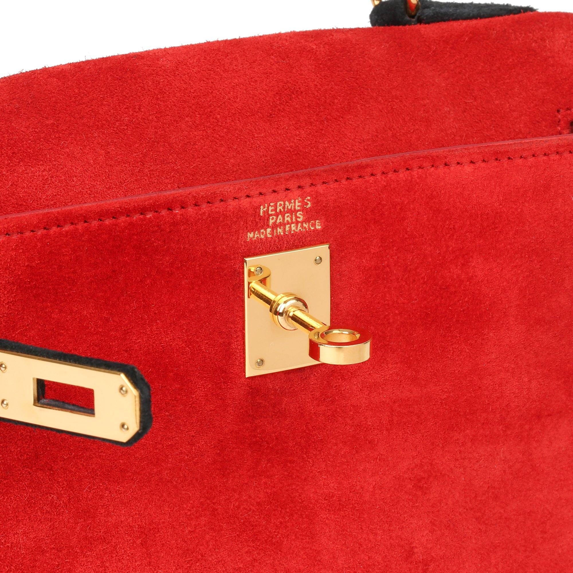 Hermès Rouge Vif & Black Veau Doblis Suede Vintage Kelly 20cm Sellier
