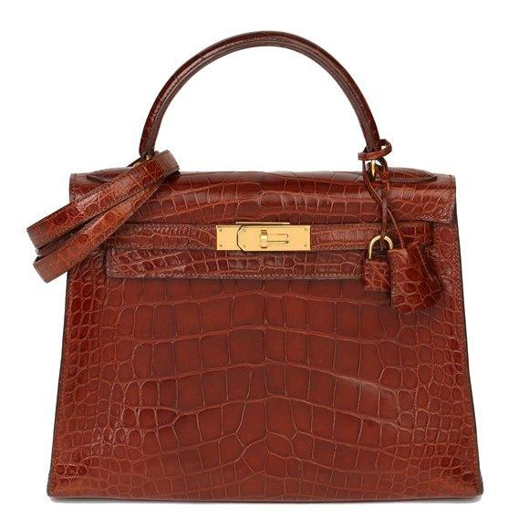 Hermès Miel Shiny Alligator Leather Vintage Kelly 28cm Sellier