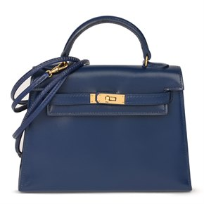 Hermès Navy Box Calf Leather Vintage Kelly 15cm Sellier