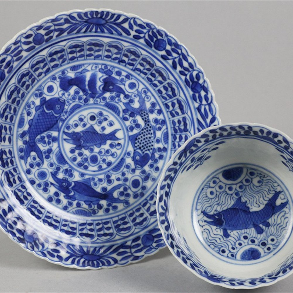 Exceptional Antique Chinese Blue & White Kangxi Tea Bowl & Saucer Painted With Fish 1662-1722
