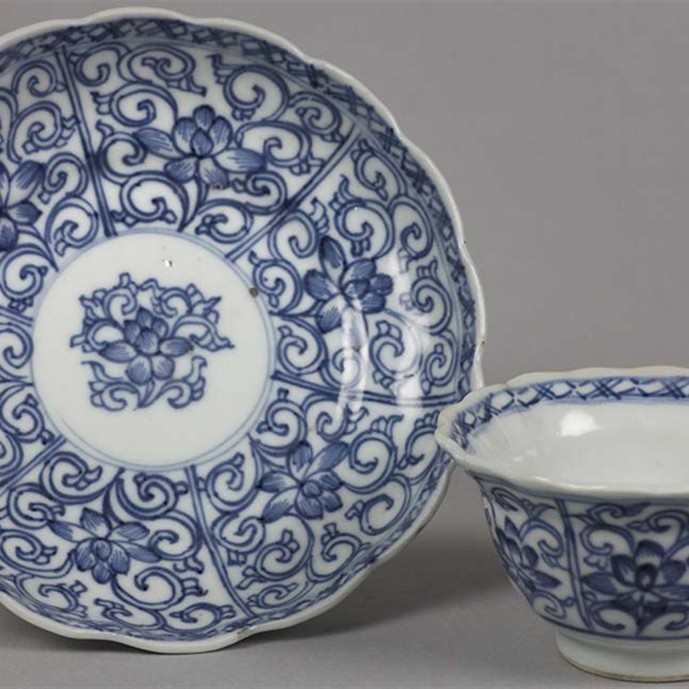 KANGXI TEABOWL & SAUCER Dates from the Kangxi reign 1662-1722