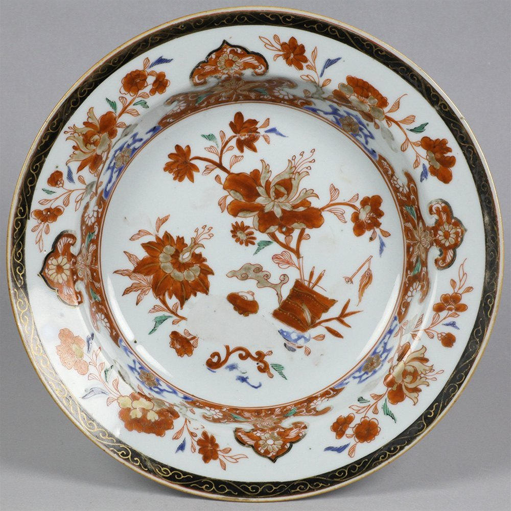 Antique Chinese Imari Palette Porcelain Shallow Bowl With Floral Designs 18th C.