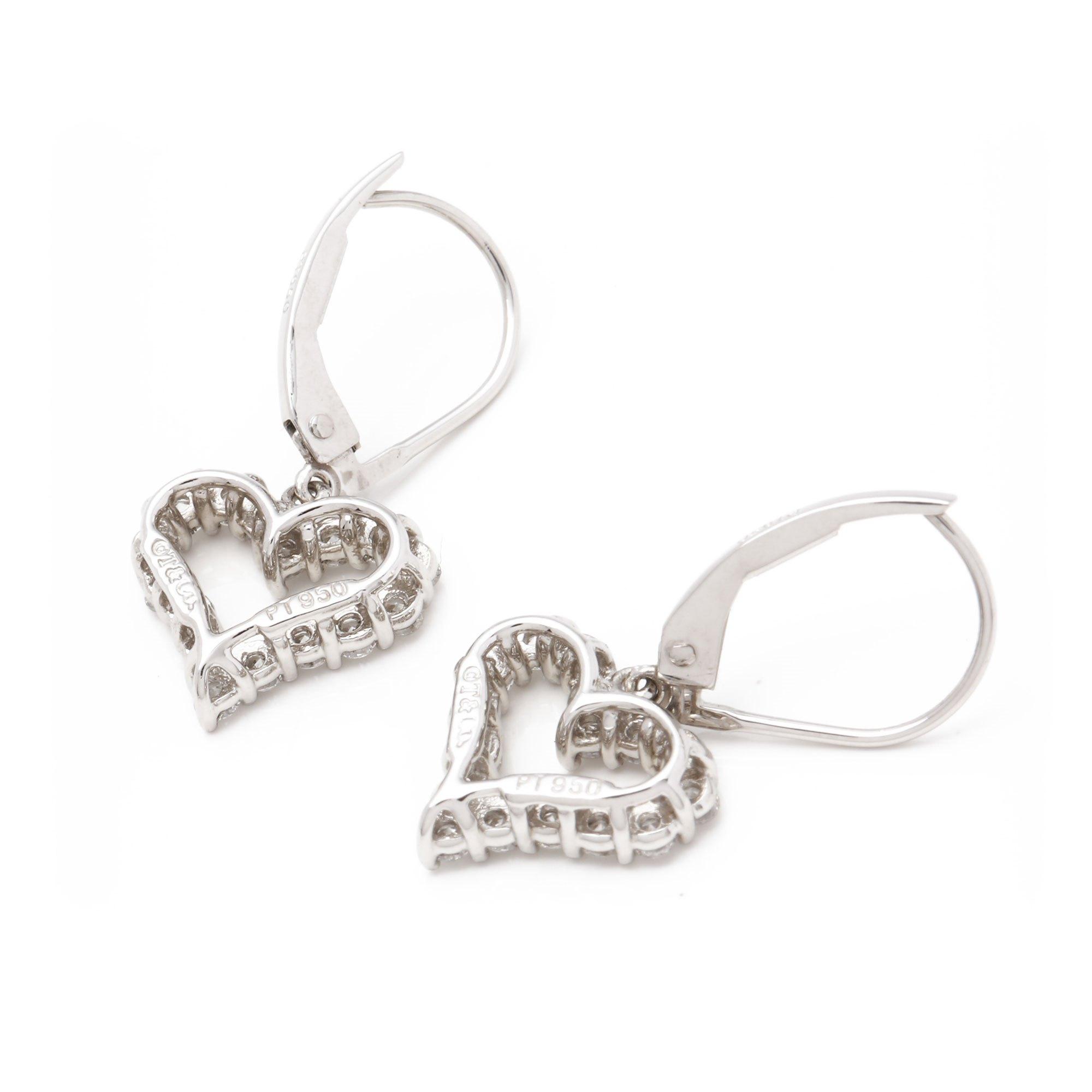 Tiffany & Co. Hearts Diamond Platinum Earrings