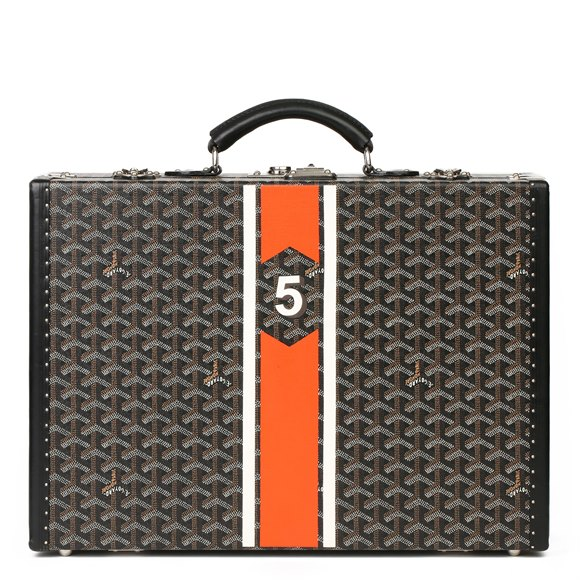 Goyard Black Chevron Coated Canvas Special Order Mallettie Manoir Briefcase