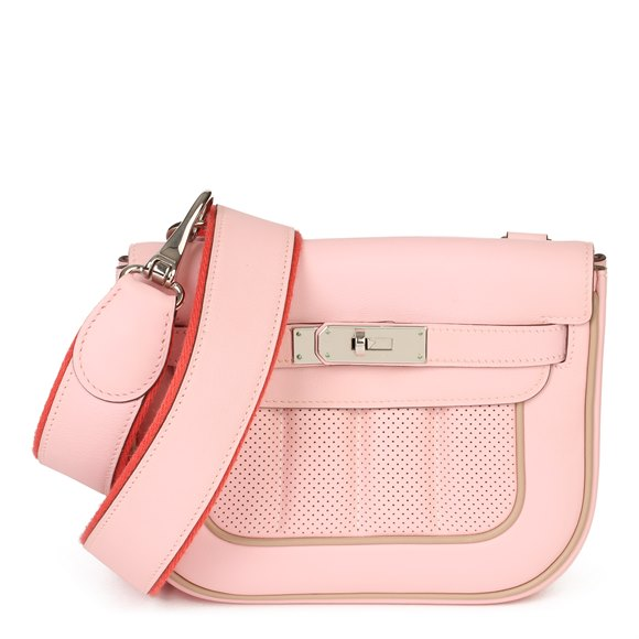 Hermès Rose Sakura & Argile Perforated Swift Leather Berline 21cm