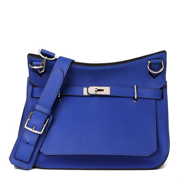Hermès Blue Electric Clemence Leather Jypsiere 34