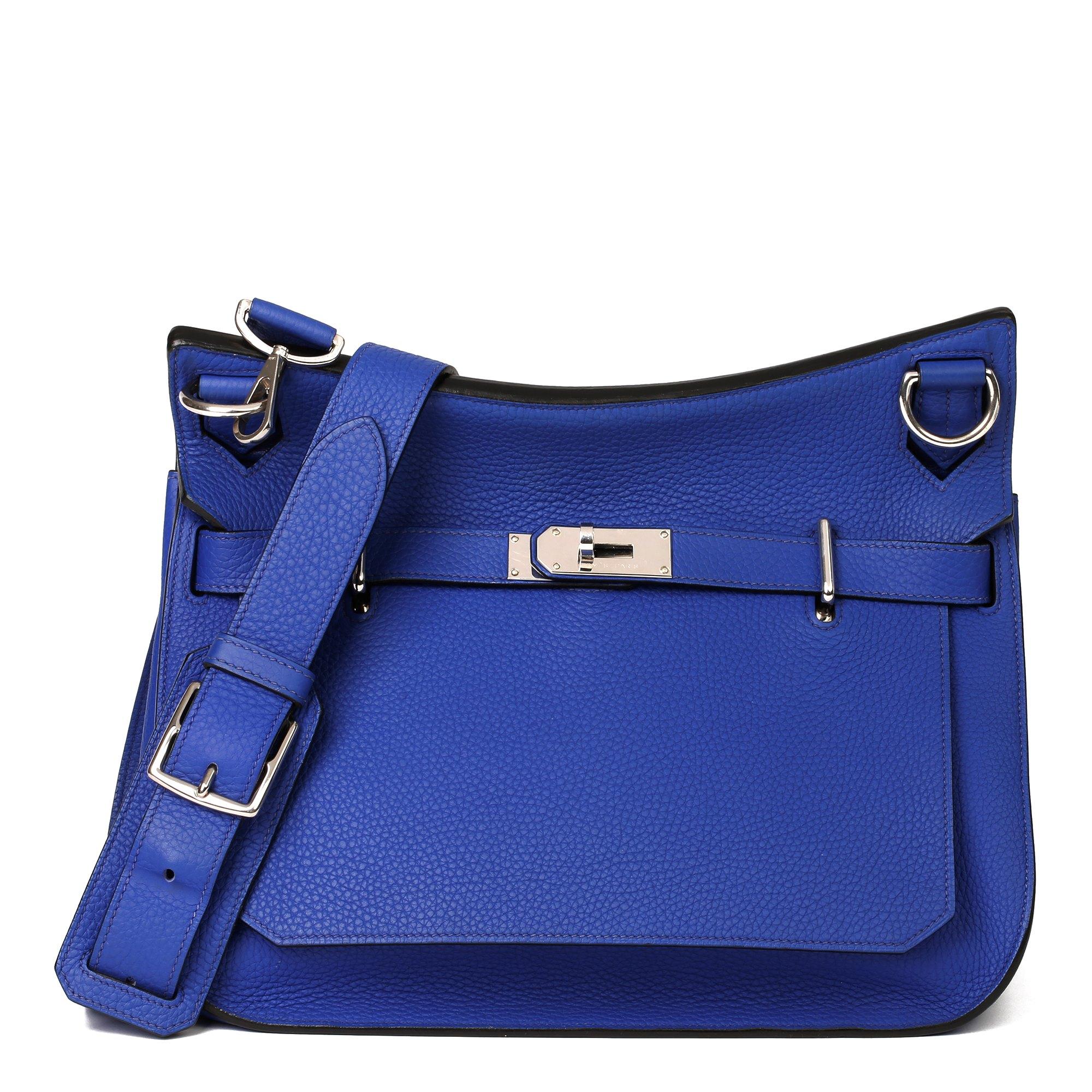Hermès Blue Electric Clemence Leather Jypsiere 34