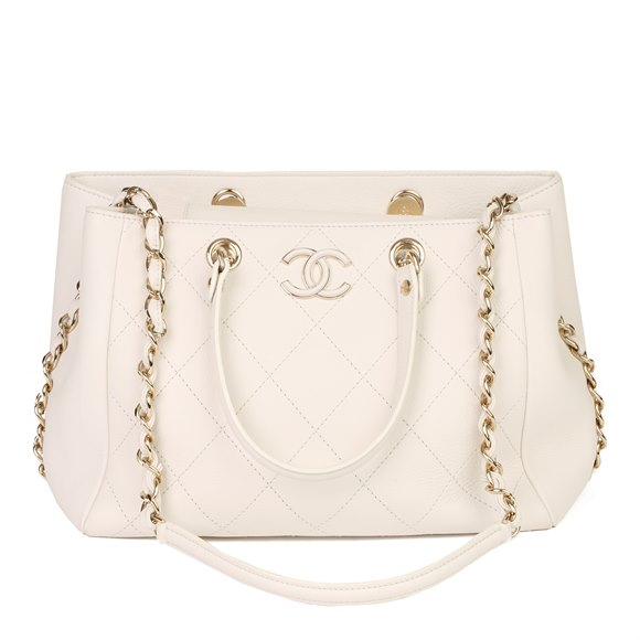 Chanel Ivory Quilted Calfskin Leather Timeless Shoulder Tote