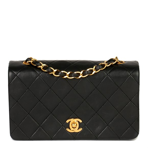 Chanel Black Quilted Lambskin Vintage Mini Full Flap Bag