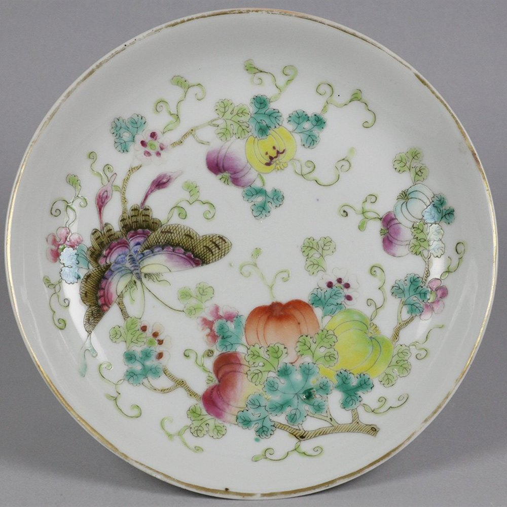 QIANLONG POLYCHROME SAUCER DISH Qianlong mark but possibly period or later