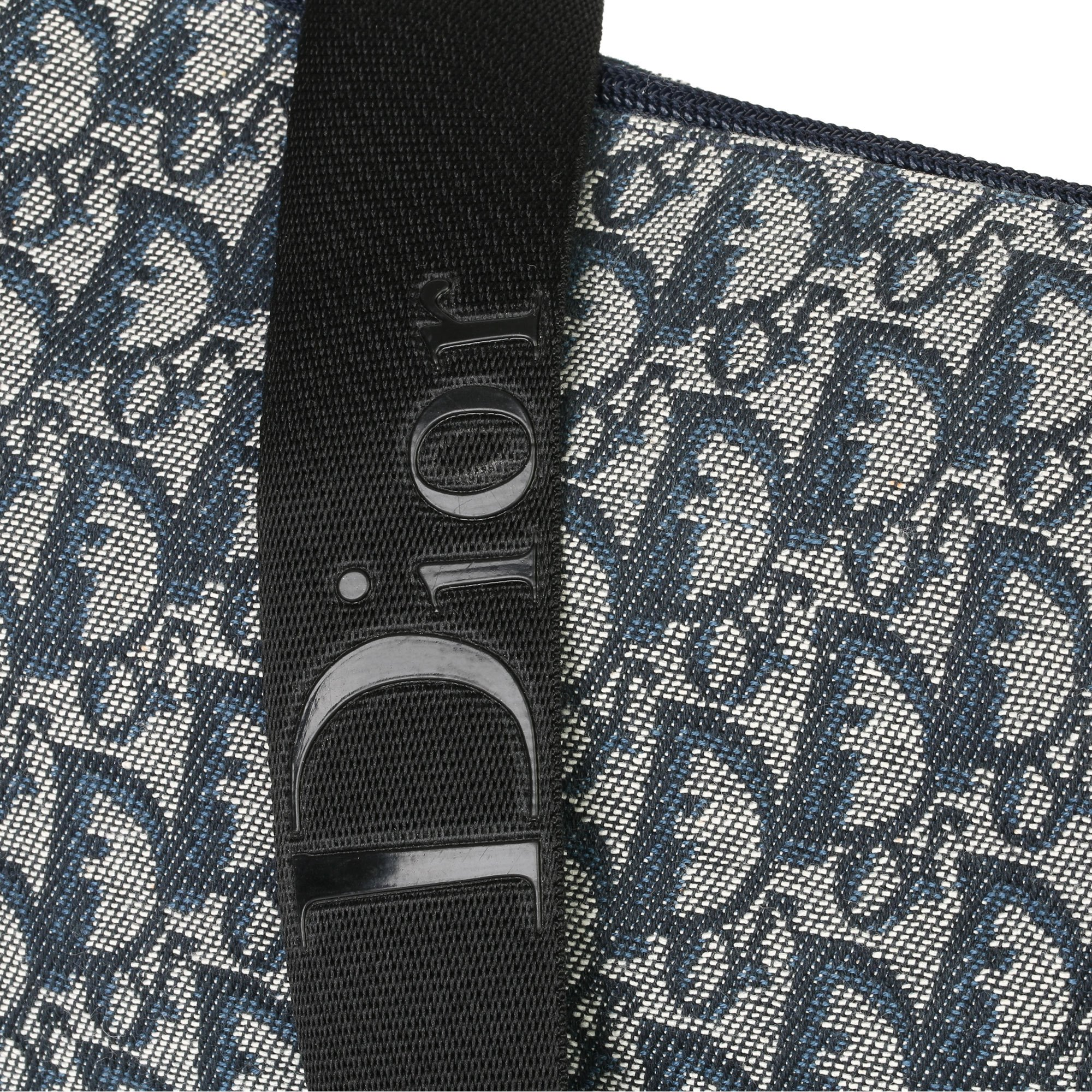 Christian Dior Blue Monogram Canvas Vintage Messenger Bag