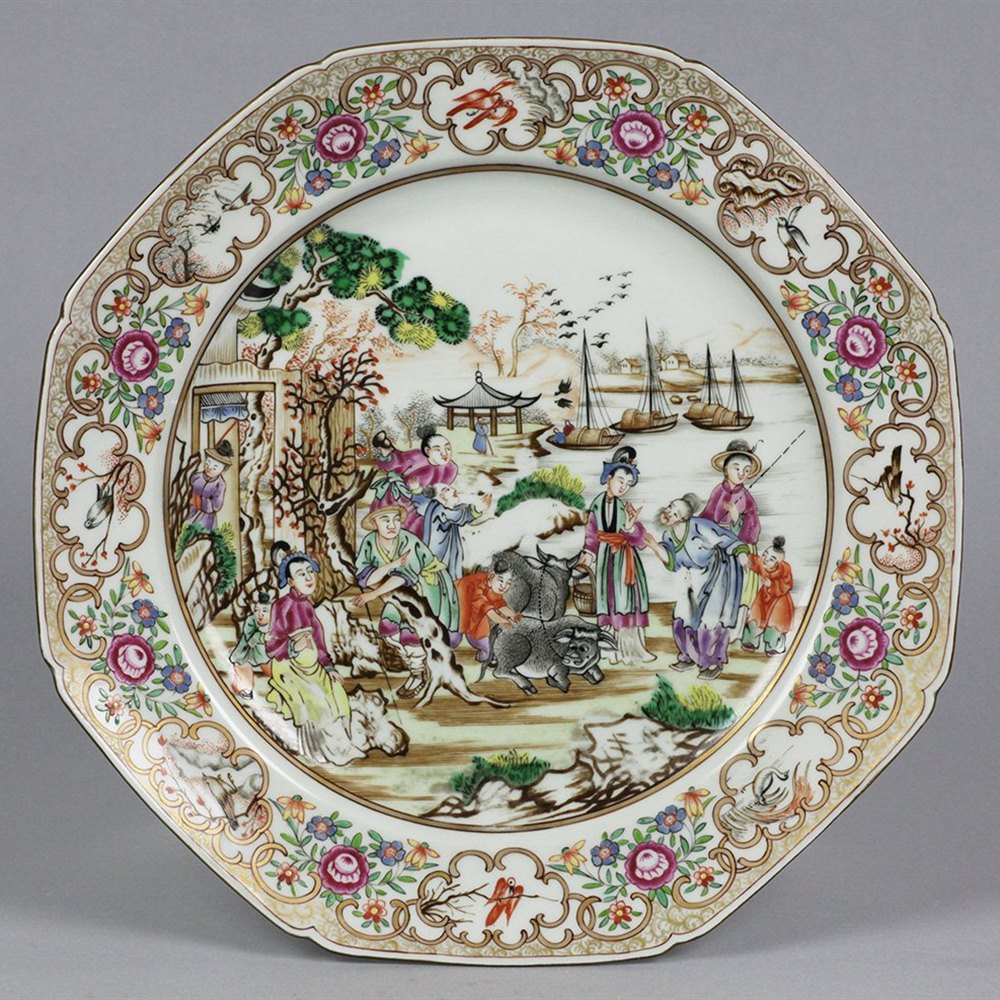 Antique French Porcelain Chinese Qianlong Famille Rose Inspired Plate 19th C.