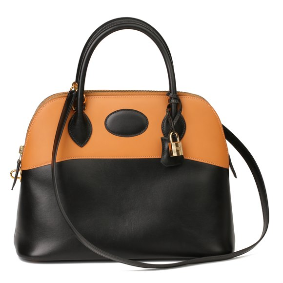 Hermès Black Box Calf Leather & Natural Chamonix Leather Bolide 31cm
