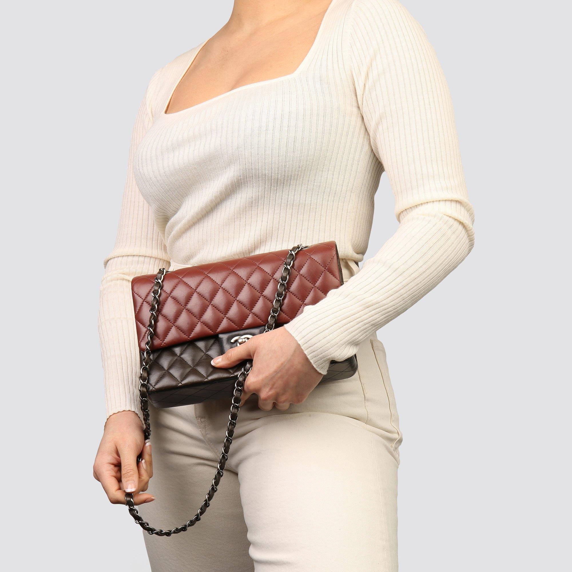 Chanel Burgundy, Black & Khaki Lambskin Medium Classic Double Flap Bag