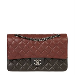 Chanel Burgundy, Black & Khaki Lambskin Medium Classic Double Flap Bag