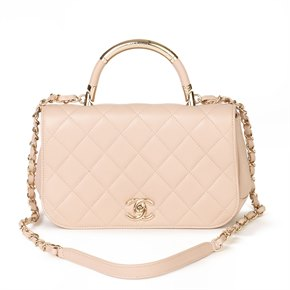 Chanel Pink Quilted Lambskin Classic Top Handle Shoulder Bag
