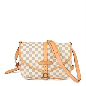 Louis Vuitton Beige Damier Azur Coated Canvas & Vachetta Leather Saumur 30