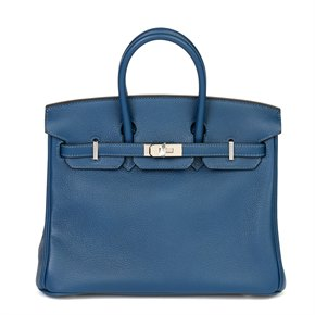 Hermès Deep Blue Novillo Leather Birkin 25cm