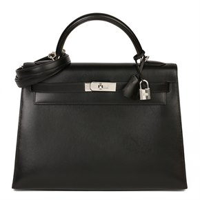 Hermès Black Box Calf Leather Kelly 32cm Sellier