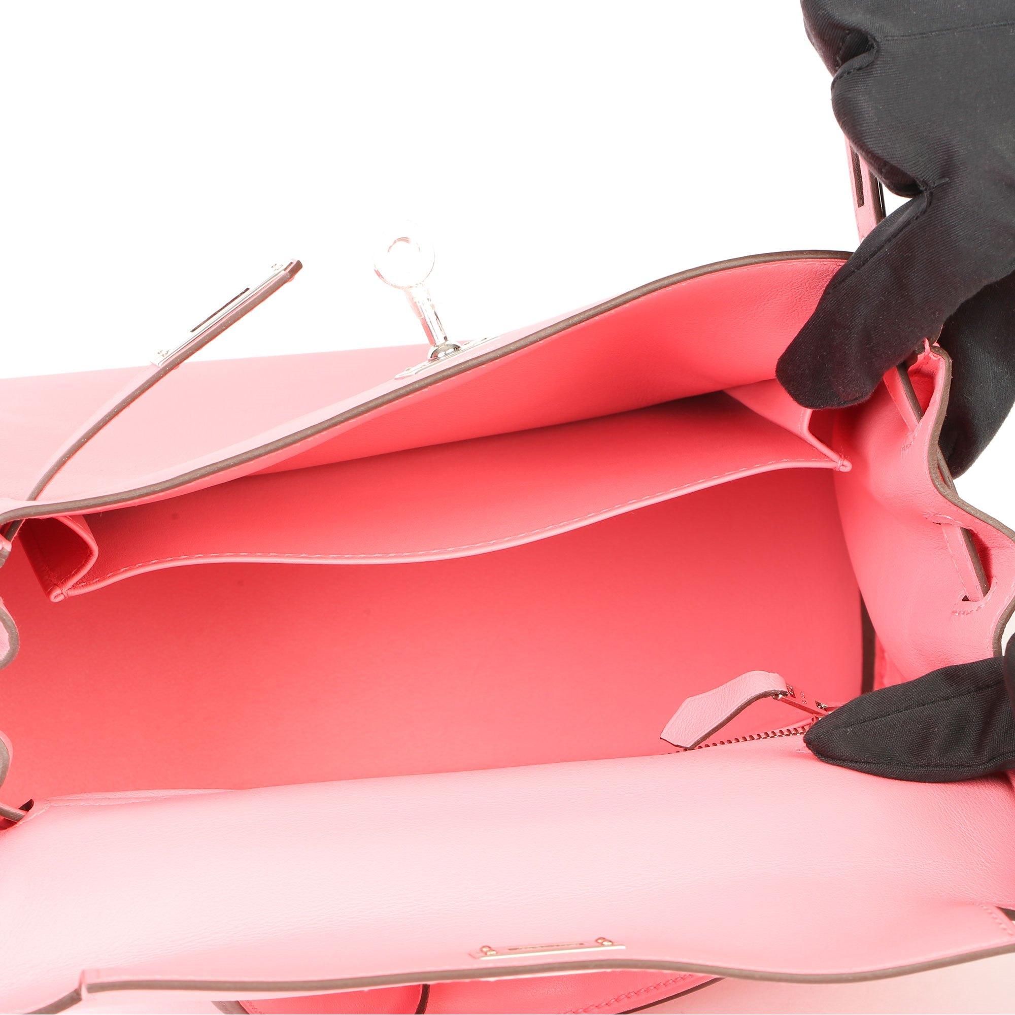 Hermès Rose Eté Swift Leather Kelly 25cm Retourne