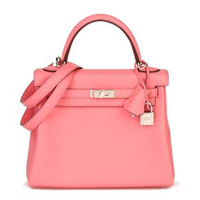 Hermès Rose Eté Swift Leather Kelly 25cm