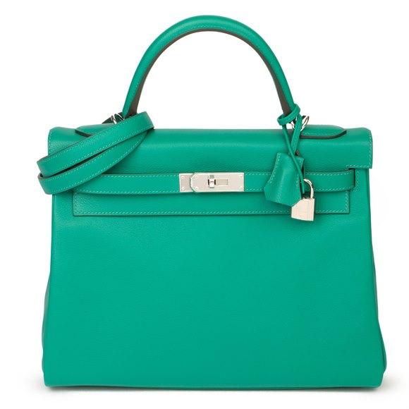 Hermès Vert Verone & Blue du Nord Evercolor Leather Verso Kelly 32cm Retourne