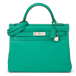 Hermès Vert Verone & Blue du Nord Evercolor Leather Verso Kelly 32cm Retourne