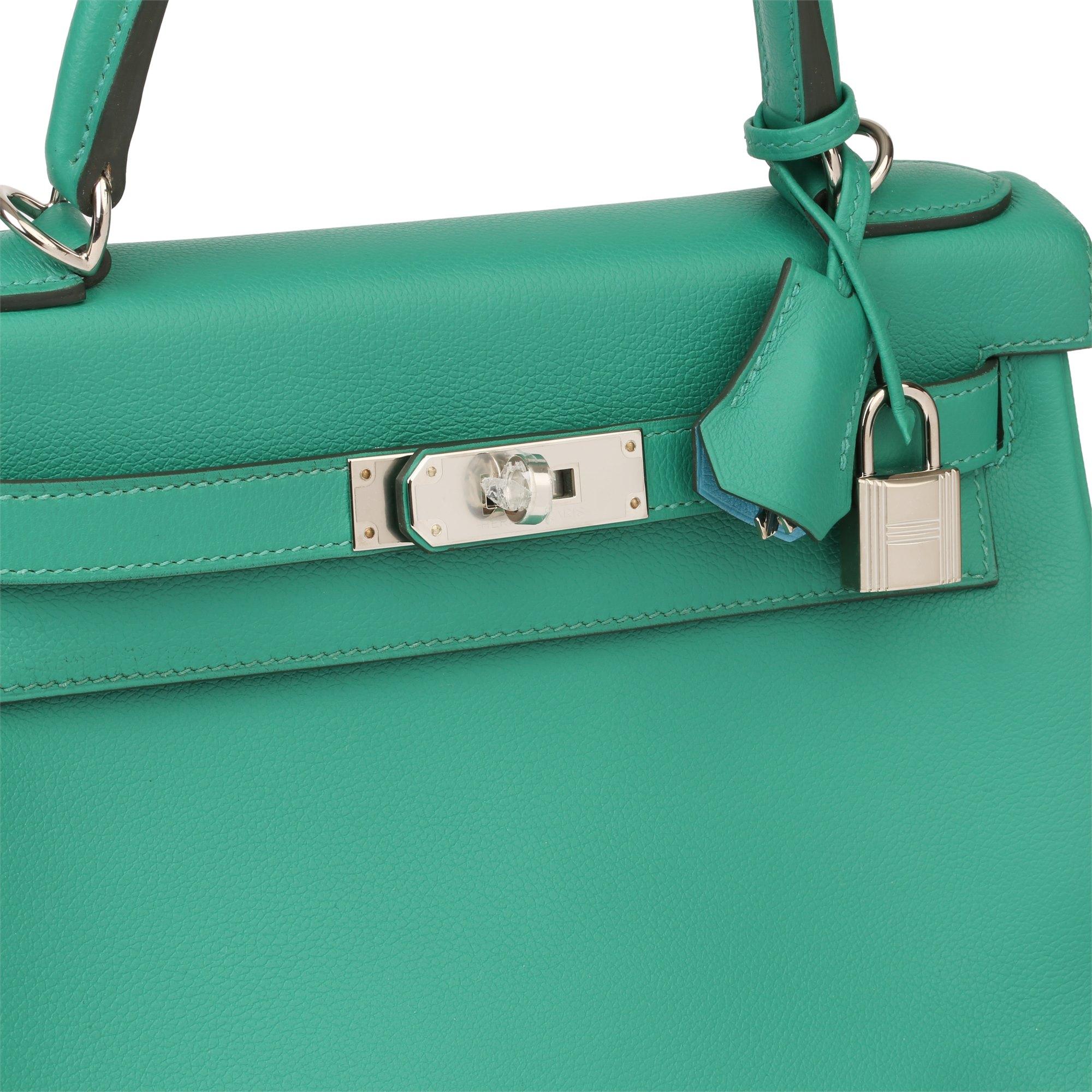 Hermès Vert Verone & Blue du Nord Evercolor Leather Verso Kelly 28cm Retourne