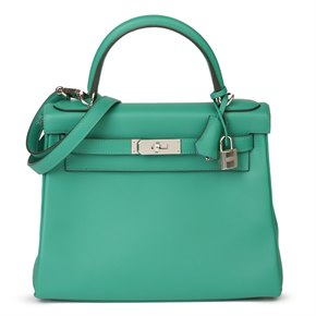 Hermès Vert Verone & Blue du Nord Evercolor Leather Verso Kelly 28cm Retourne