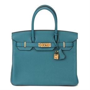 Hermès Vert Bosphore Clemence Leather Birkin 30cm