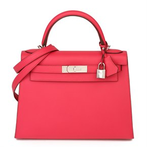 Hermès Rose Extreme Epsom Leather Kelly 28cm Sellier