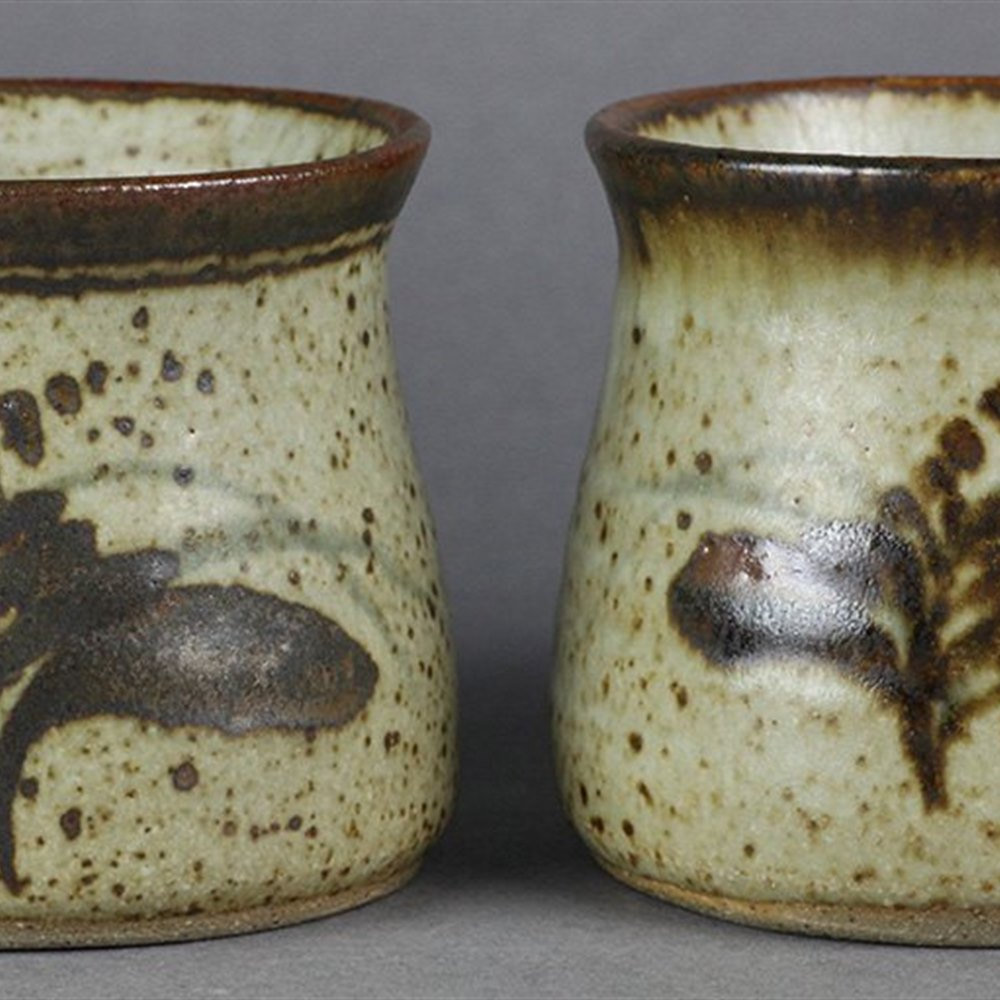 PAIR DAVID LEACH COFFEE MUGS Second half of the 20th Century